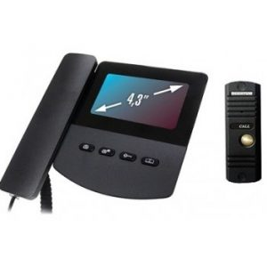 Монитор видеодомофона цветной QM-433C_SET3 (черный)+Выз. панель (серебро)