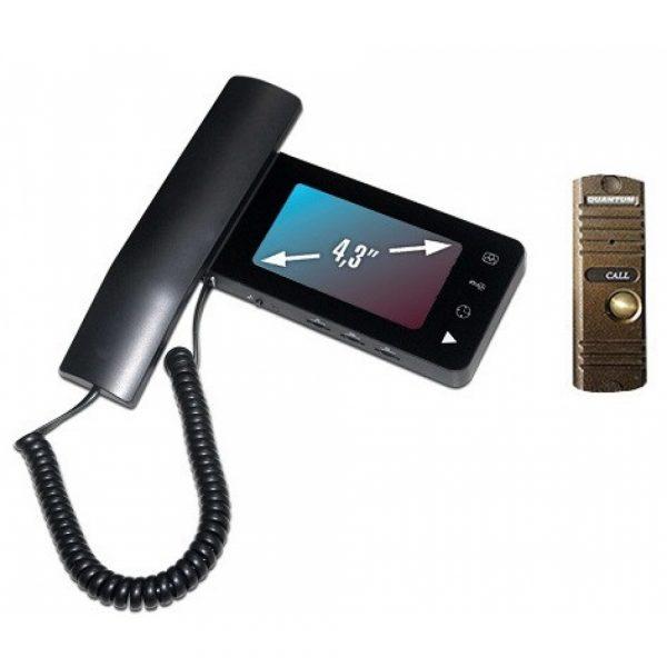 Фото 1 - Монитор видеодомофона цветной QM-434C_SET1 (черный)+Выз. панель (бронза).