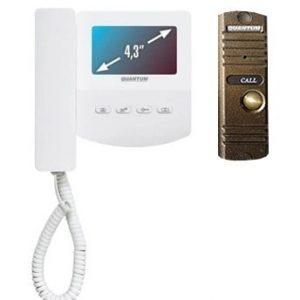 Монитор видеодомофона цветной QM-433C_SET1 (белый)+Выз. панель (бронза)