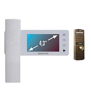 Монитор видеодомофона цветной QM-434C_SET1 (белый)+Выз. панель (бронза)
