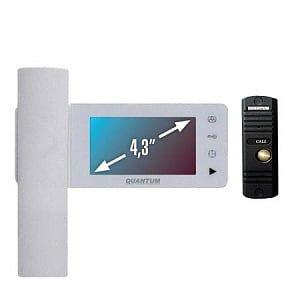 Фото 4 - Монитор видеодомофона цветной QM-434C_SET2 (белый)+Выз. панель (черный).