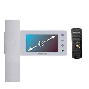Монитор видеодомофона цветной QM-434C_SET3 (белый)+Выз. панель (серебро)